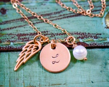 SALE - Rose Gold Memorial Angel Wing Necklace - Dainty Rose Gold Charm Necklace - Baby Loss Gift-Sympathy Gift-Pink Gold-Personalize Initial