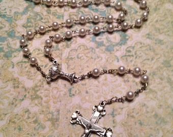 Cream Swarovski Pearl Handmade Rosaries