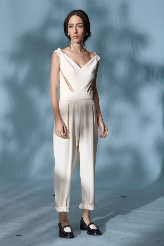 Items Similar To Aubrey White Jumpsuit-semi Formal-graduation Dress-prom Dress-gifts For Her ...