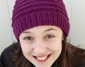 Girls Knit Beanie, Kids Winter Hat, Purple Hat, Handknitted Wool Hat, Childrens Hat, Ready to Ship