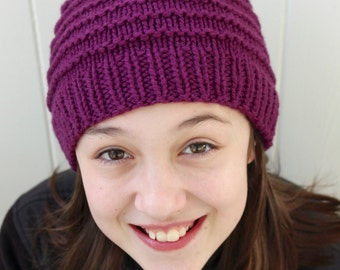 Kids Knit Hat, Kids Winter Hat, Purple Wool Hat, Hand Knit Hat, Knit Beanie for Kids, Wool Hat for Kids, Hand Knitted and Handmade