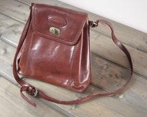 Italian Fiorella vintage cognac brown genuine leather bag Shoulder ladies purse Designer bag Brown real leather satchel