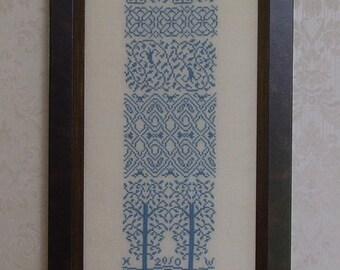 Cross Stitch PDF Pattern Blue Band Sampler