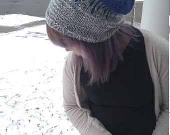 Grey and Blue Raindrop Slouch Beanie