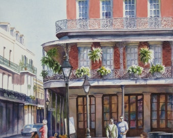 Historic architecture New Orleans French Quarter print of watercolor painting