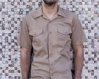 Creighton Military Shirt // Made in USA // 50s/ 60's workwear/ vintage workwear/ mens button down/short sleeve