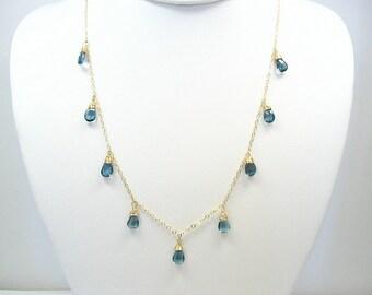 London Blue Topaz Necklace, Blue Gemstone, Gemstone Drops, London Blue Necklace, Blue Topaz Jewelry, Blue Stone Necklace, Bridal Necklace
