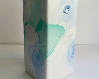 Tall Rectangular Vase - Aqua and Blue