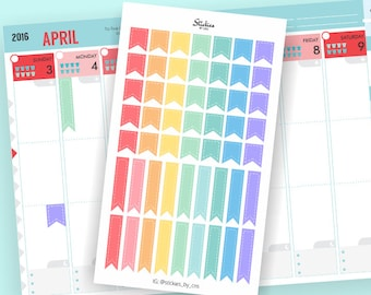 Rainbow Pastel Page Flags Planner Stickers | For your planner, scrapbook, agenda, calendar | KA19