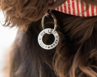Handstamped Simple Washer Style Dog Tag