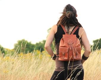 Tan Womens Leather Backpack, Leather Rucksack, Shoulder Bag, Leather Bag, Leather Pouch, Leather Satchel, Fashion Backpack, Girls Backpack