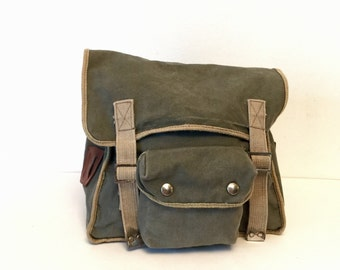 1970's Yugoslavian army green canvas backpack