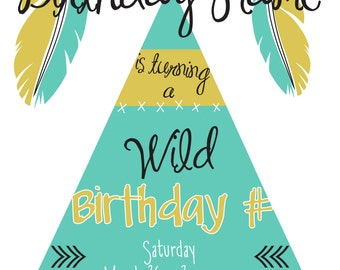 Birthday Party Invitation Wild, Mint, Gold, TeePee, Feathers