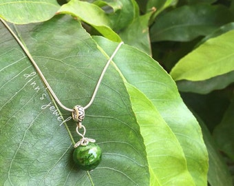 Natural Chrome Diopside Necklace with Sterling Silver Materials