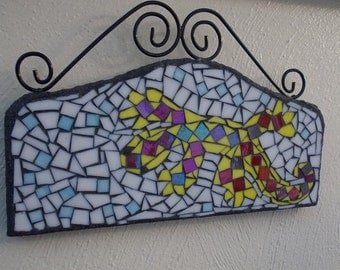 Yellow Gecko on White Sand Stained Glass Mosaic Wall Art