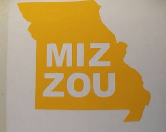 MU- MIZZOU- Missouri University State Decal - permanent vinyl - perfect for Yeti & Rtic cups, coolers, windows, etc. Take it tailgating!