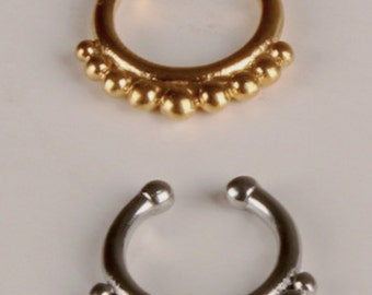 Simple beaded Fake Septum Ring Choose Gold or Silver Hanger Daith