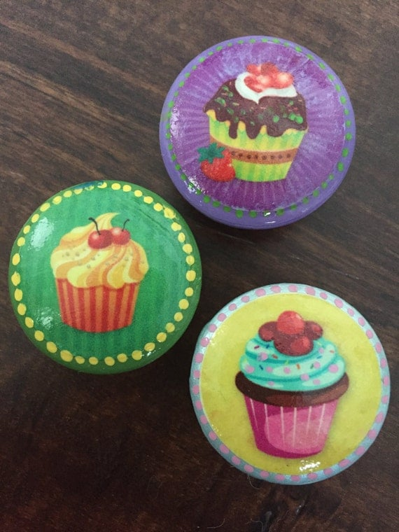 1 5 Inch Cabinet Knobs Drawer Pulls Cupcakes Knobs Sweets