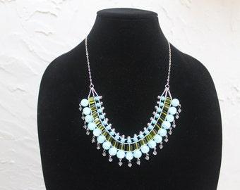 20% OFF! Aqua & Green Beaded Bib Statement Necklace