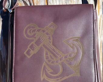 Anchor // Laser Engraved Genuine Leather Purse // Messenger Bag // Shoulder Bag // Nautical Purse