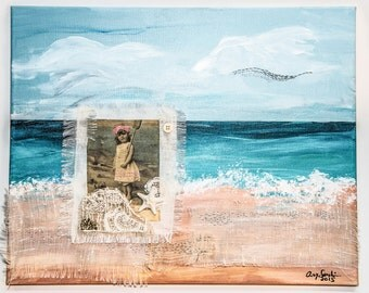 """Original painting/Hand embroidered/Mixed media/beach/Victorian/girl/""""Beach Painting"""""""