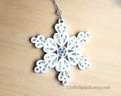 Handmade Paper Snowflake, Christmas Tree Ornament Snowflakes, Quilled Snowflakes.