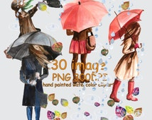 Weatercolor Autumn Clipart,Fall clipart set,Rainy Days Clipart,Autumn fashion ,raincoat,umbrella,boots, leafs,Autumn shower