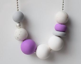 White beaded necklace, Purple bead necklace, Purple jewelry, Geometric jewelry, Handmade jewelry, Polymer clay jewelry, Long bead necklace