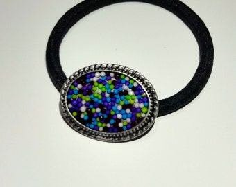 Pony Tail Holder with Blue, Purple, Green and White Sprinkles in Resin