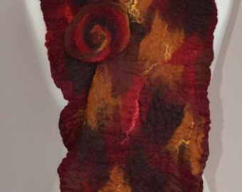 Red, brown and tan felt merino wool scarf. Red felt scarf. Red merino scarf. Red winter scarf.