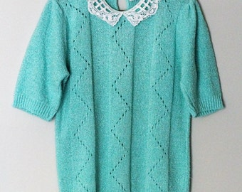 Vintage 80s Womans Short Sleeved Sweater Light Blue with Lace Knit Collar Retro Hipster Size Medium