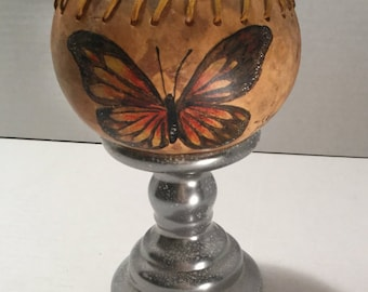 Hand painted Butterfly gourd bowl