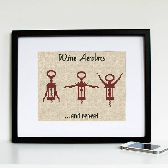 Wine cross stitch pattern funny hand embroidery kitchen chart
