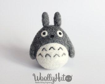 Needle Felted Totoro, Felted Tonari no Totoro, Totoro Plush, Handmade Totoro, Grayish Totoro