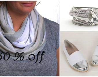 Jersey Infinity Scarf, White and Grey scarf, Gift for her, Accessorize, Fashion scarf