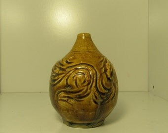 Temuka Gold Carved Bud Vase
