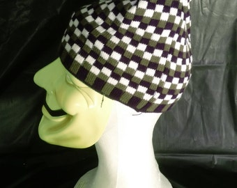 Navy, Dark Green, and White Checker Knit Beanie Cap