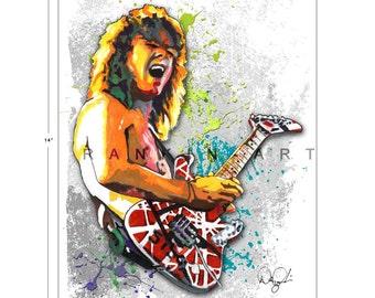 Eddie Van Halen #1, 11x14 in, 29x36 cm, Signed Art Print w/ COA