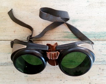 Antique Bausch & Lomb Safety Goggles - Bausch and Lomb Welding Glasses - Welding Safety Goggles - Vintage Glasses