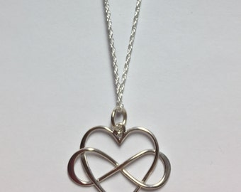 Infinity Heart Infinite Love .925 Sterling Silver Heart Necklace