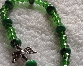 Green Bead Angel Bracelet
