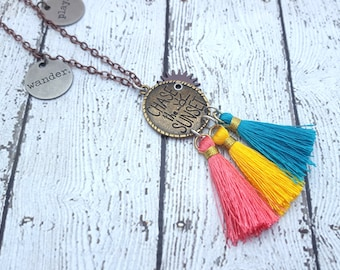 Chase The Sunset Necklace, Colorful Tassel Necklace, Bohemian Necklace, Festival Style, Wander & Play Necklace, Boho Chic, Colorful Jewelry