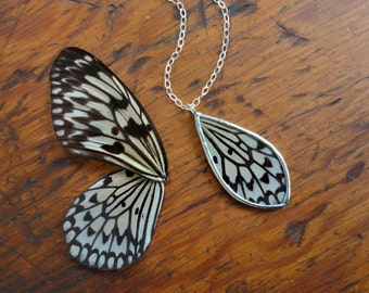 Flutterby - Real Black and White Butterfly Necklace, paper kite wing stained glass gardener science gift long necklace sterling