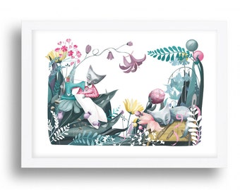 Sewing Cats art Print - Illustration drawing cats seamstress flowers cat nursery art  A4 / A3 / A5 / 8 x 10 giclee print