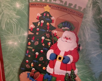 SANTA'S LODGE STOCKING Kit Felt Applique Santa Fishing Creel Bucilla Holiday Time