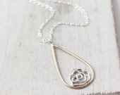 Gold and Silver Rose Teardrop Drop Necklace