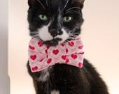 My Kitty Valentine Argyle Heart Print Bow Tie For Cats