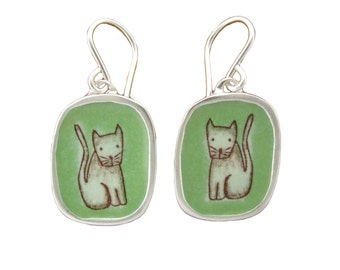 Cat Earrings - Sterling Silver and Vitreous Enamel  Cat Earrings