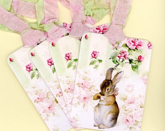Rabbit Gift Tags , Pink and Green Tags , Beatrix Potter , Shabby and Chic , Set of Six ,  Double Seam Binding , Shabby Pink Roses