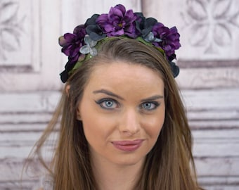 Gothic Floral Headpiece, Purple and Black Flower Crown, Woodland Crown, Floral Headband, Gothic Lolita, Dark Fairy, Costume, Cosplay